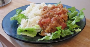 Plate of Rice, Tomato Curry, Lettuce