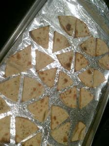 Tortilla Triangles on Baking Sheet